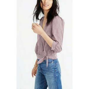 Madewell Wrap Top in Gingham Checkered Top
